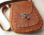 RESERVEDSeventies Leather Purse Handmade Tooled Vintage Messenger Shoulder Bag Crossbody Strap Retro Metal Clasp 1970s Fashion Hip Boho Mod