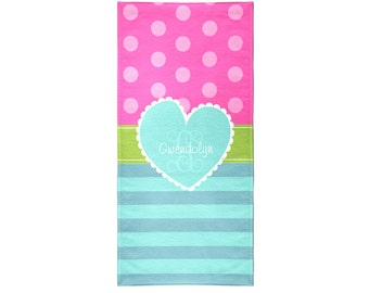 Hearts and Stripes Personalized Beach Towel