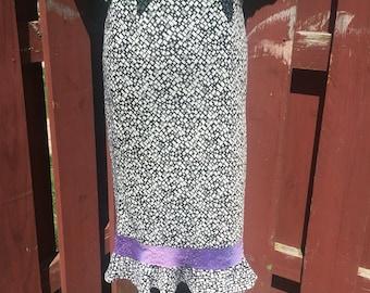 Vintage Black and White Tea Length Skirt With Purple Ribbon Trim Size Medium