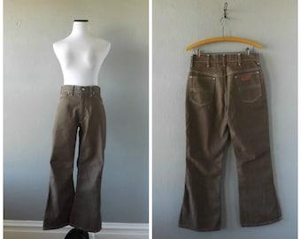 Brown Denim 70s Jeans Vintage High Waisted Plain Pocket Pants 29 Waist Hipster Boho Color Blue Jeans 1970s Hippy Men Womens Trouser Wide Leg