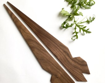 Geo Walnut Salad Servers - faceted recycled walnut serving utensils