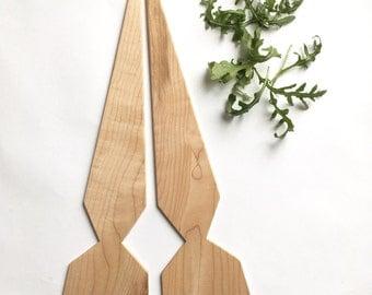 Large Maple Geo Salad Servers - ooak facet recucled hardwood triangle serving utensils