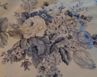 Lovely Upholstery Fabric Blue Roses Floral Flowers