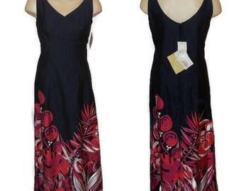 DEADSTOCK Vintage 1960s 70s Dress Floor Length Maxi Dress NWT Black Cotton Abstract Fuschia Tribal Bird Print Unworn Boho Festival Dress M