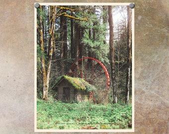 Oregon Photography | Abandoned Waterwheel | Niagara Oregon | Santiam Pass | Oregon Photo | Oregon Cascades | Abandoned Building Photo