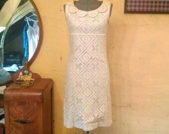 Sweet Lace Jonathan Logan Dress Scallop Collar Mod Wedding 60s XS