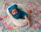 Newborn Photo Prop, Baby Boy, Baby girl onesie, Baby photo outfit, Teddy bear props, Newborn Overall, knitted bear, newborn prop