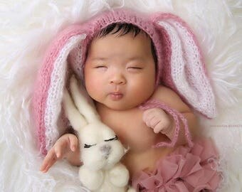 Newborn Baby Hat Photography Prop Bunny Hat Rabbit Hat Newborn Bunny Cap Prop Hat Pink Baby Hat Grey Baby Hat - choose more colors
