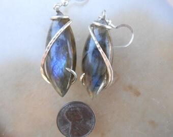 Labradorite Silver Wrapped Earrings