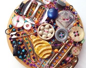 HUMAN CIRCUITRY 2, Embroidery Hoop Textile Junk Art Piece, Featuring Plastics, Shell, Bone, Metal Button Box Objects, Orange, Hot Pink