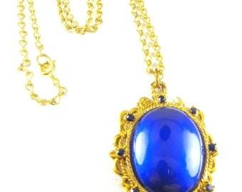 Royal Blue Drop Necklace Iridescent Cobalt Blue Glass Cab Gold Tone Gothic Renaissance Victorian Revival Design Pendant Chain