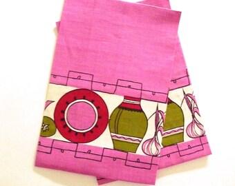 Vintage New Pink Linen Tea Towels