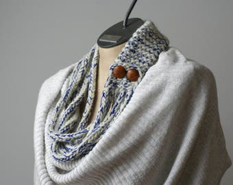 Ready to Ship: White and Cobalt I-Cord Necklace - I-Cord Scarf - Wool Infinity Necklace - Button Scarf - Spring Scarf - Fiber Necklace