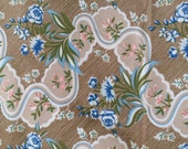 Vintage Blue Roses Pink Flowers Brown & Beige Background Light Weight Home Dec Fabric 26x31""