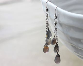 Labradorite Earrings, .925 sterling silver, gemstone cluster earrings, green-grey gemstone earrings, gift for her, mother's day gift