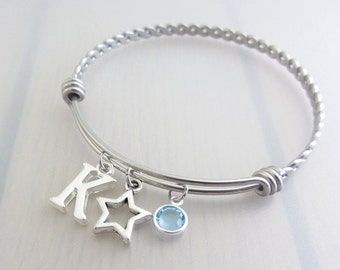 Hollow Star Charm Stainless Steel Bangle, Birthstone Initial Bangle, Personalised Silver Letter Bracelet, Adjustable Bangle, Space Gift