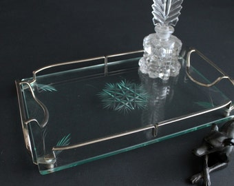 Vintage Vanity Tray Pressed Glass and Nickel Plated Steel Boudoir Dressing Table Accessory