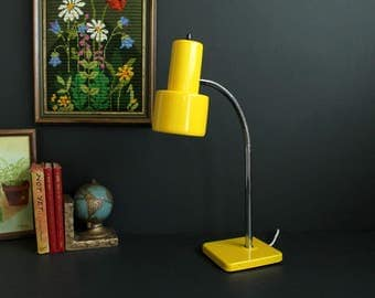 Vintage Bright Yellow and Chrome Mod Flexible Goose Neck Desk Lamp Bedside Lamp