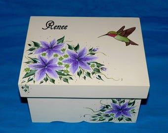 Decorative Wedding Box Hummingbird Keepsake Box Memory Box Wedding Card Holder Hand Painted Wood Box Lily Anniversary Bridal Shower Gift