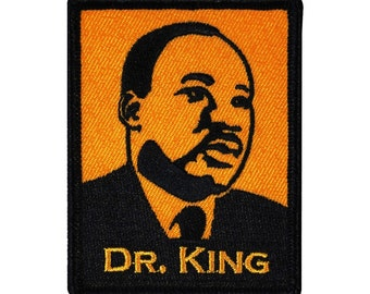 "Famous African-American ""Dr. King"" MLK Iron-On Patch Black Civil Rights Applique"