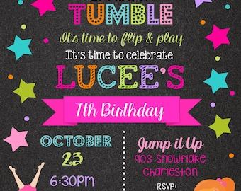 12 Gymnastics Birthday Party invitations with envelopes - tumbling party invitations- chalk- chalkboard- any colors