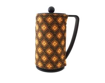 French Press Coffee Pot Cozy, Brown with Gold Diamonds Fabric Coffee Cozy, Fits Bodum Brazil Style French Coffee Maker, RedLeafStitchCraft