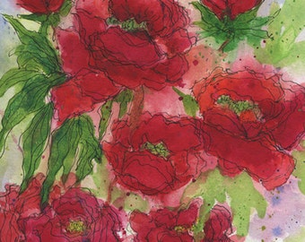 Red Peonies Bright and Colorful Abstract Print of an Original Watercolor Painting