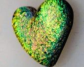 Heart Cabochon, Dichroic Cabochon, Golden Heart Cab, Jewelry Cab, Mosaic Heart Tile, Handmade Glass Heart