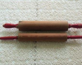 2 Vintage Red Handle Wood Rolling Pins