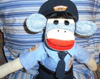 Policeman/Police Officer Classic Blue Denim Sock Monkey Doll