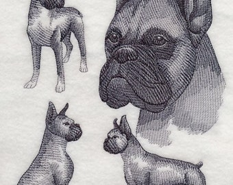 Boxer Dog Embroidered Quilt Block Square Dog Sketch