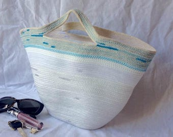 Rope purse, coil rope bag, purse, tote, neutral with turquoise