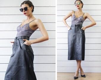 Vintage black genuine leather below the knee high waist pocketed pencil midi skirt L