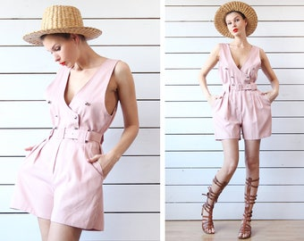 French vintage pink overalls short shorts belted one piece romper jumpsuit playsuit M