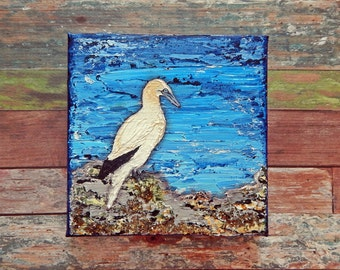 "Northern Gannet Canvas Art | Shorebird Painting | Ocean Art | Beach Decor | 6x6 | ""Shorebirds"" Series No.3 