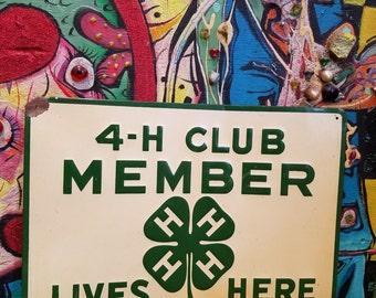 Vintage 1950's 4-H Member Lives Here Tin Souvenir Sign Farm Rural America