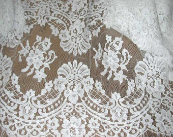 No. 300 White French Cotton Solstiss Double Scallop Galloon For Bridal Veils 10 yds of Scallop