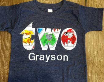 Paw Patrol Birthday Shirt - Custom - you pick the number or word on the shirt
