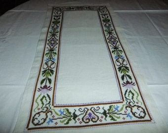 Vintage Swedish hand embroidered tablecloth - flowers in cross stitch