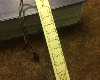 Ice Cream Bookmark, Wood Burned Bookmark, Pyrograhy Bookmark, Kids Bookmark, Stocking Stuffer, Gift for Readers, Gift for Student