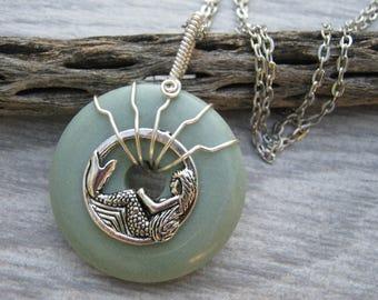 Jade Mermaid Necklace, Gemstone Donut Jewelry, Wire Wrapped Gemstone, Beach, Chunky Boho Pendant CHOOSE Necklace, READY to Ship, GD3