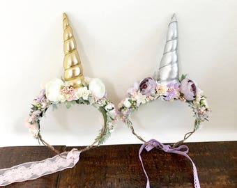 Unicorn Headband-Flower crown- Unicorn Party- Unicorn Flower Crown- Unicorn Crown- unicorn girls birthday- baby girl headband