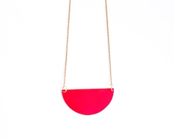 Pink Half Circle Necklace.              Reversible Geometric Necklace.     Minimal Modern Jewelry with a Charitable Donation