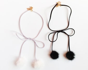 sale pom pom mink fur choker suede black or lavender-choker necklace-pom pom necklace-arians grande inspired-ribbon necklace-love factory ny