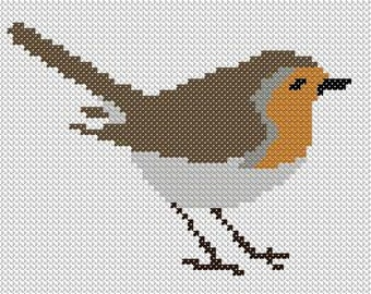 Robin Redbreast - Cross Stitch, Graphghan C2C Crochet or Intarsia Knitting pattern