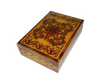 Vintage Wood Burned Jewelry Box or Trinket Box with Mirror
