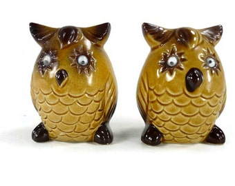 Vintage Owl Salt and Pepper Shakers Ceramic Owls with Wiggle Eyes