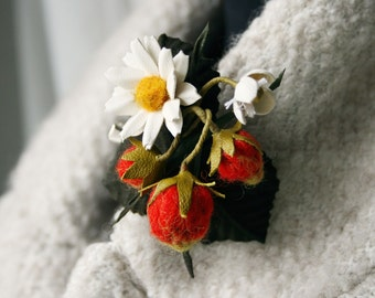 Strawberry and Daisy Wool/ Leather Brooch Hairclip