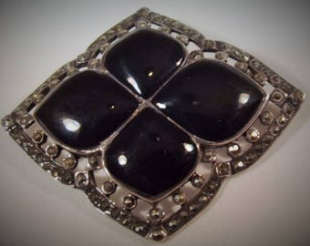 Brooch Vintage Sterling Silver Onyx Marcasite Stone Art Deco Heavy Big Bold Exotic Forest to Runway Statement Piece Black Silver Unique