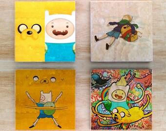 "Adventure Time ""Buddy Time"" Stone Coasters (set of 4) - Vintage Retro Cartoon Finn and Jake Cartoon Network"
